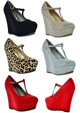 New Women Mary-Jane High Heel Platform Wedge Shoes Pumps Bootie New HEIGHT color