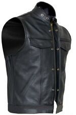MENS REAL COW LEATHER BLACK MOTORCYCLE BIKER STYLE VEST WAISTCOAT - (B9)
