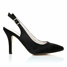 FAITH Black Satin Stiletto High Heel Slingback Bridal Court Shoes