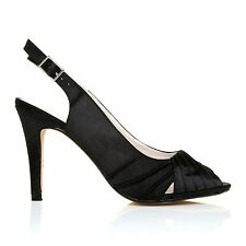 CHLOE Black Satin Stiletto High Heel Slingback Bridal Peep Toe Shoes