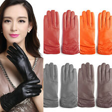 Women Winter Warm Driving 100% Real Genuine Lambskin Leather Gloves Warm Lined