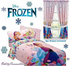 DISNEY FROZEN Princess Anna Elsa Twin or Full Size ~ Comforter Sheets Drapes Set