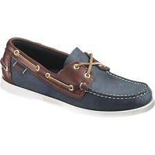 Men's Shoes Sebago Spinnaker B72852 Blue Brown Leather Boat Shoes Authentic $100