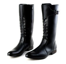 Mens Military Faux Leather lace up  high Knee High Riding biker cowboy  Boots