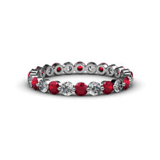 Diamond & Ruby Floating Diamond Eternity Band 1.64 ct tw-1.95 ct tw in 14K Gold