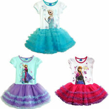 New Girls Frozen Princess ELSA ANNA Cake Tutu Dress Skirt Party Costume 2-7Y