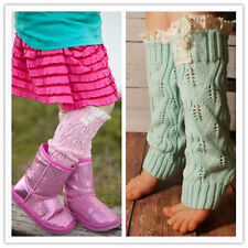 Knit Leg Warmers With Lace, for Toddlers & Girls, Wear like boot sock too
