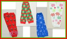 Girls Christmas Red and Green or Snowflake Leg Warmers for Babys and Toddlers