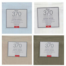 Linen White Ice-Blue - 370TC Cotton SATEEN  4 Pce Sheet Set - QUEEN KING