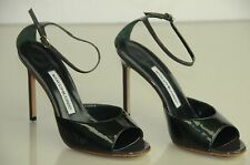 NEW MANOLO BLAHNIK Pearly  Green Patent Ankle Strap Sandals BB Heels SHOES 37