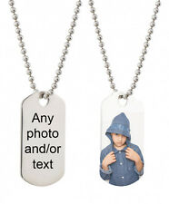 photo personalised ID dog tag neck chain necklace charm jewellery jewelry gift