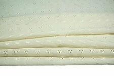 """65% Poly 35% Cotton Blend Embroidered Eyelet Lace Allover Fabric 40""""-41 Ivory"""