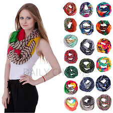Womens Fashion Design Print Color Infinity Double Loop Circle Scarf Wrap Cowl
