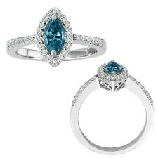 0.75 Carat Blue Marquise Diamond Solitaire Single Halo Bridal Ring White Gold