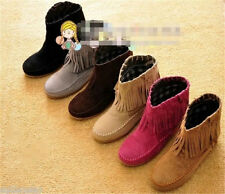 2014! Hot Sale Comfy Fringe Women's Flat Ankle shoes Boots All Size 9 Color