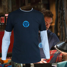 Iron Man 3 Tony Stark Navy Blue False Two Piece Long Sleeve Tee T-shirt