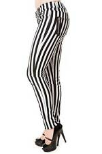 Banned Clothing Beetlejuice Skinny Jeans Black White Stripes Pants Gothic