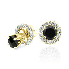 1 Carat Black Diamond Solitaire Stud Pair Earrings Halo Jackets 14K Yellow Gold