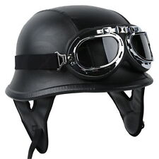 DOT German Black Leather Motorcycle Half Helmet Biker With Pilot Goggles M L XL