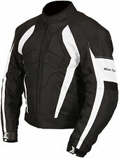 Milano Sport Black White Gamma Waterproof Textile Motorcycle Armoured Jacket.