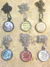 "Necklace with 1"" Glass Cabachon, Various Legends, Winnie, Ghandi, Potter, etc."