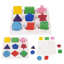 Kids Baby Wooden Learning Montessori Early Educational Toy Geometry Block Puzzle