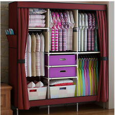 Triple Portable Clothes Wardrobe Closet Cabinet Garment Rack with 2 Free Boxes
