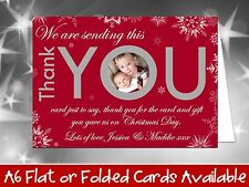 10 Personalised Christmas Greeting Cards Thank You Notes Snowflakes Own Photo