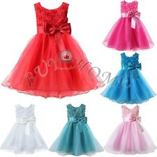 3D ROSE FLOWER GIRL BABY PRINCESS DRESS WEDDING BRIDESMAID PARTY PAGEANT DRESSES