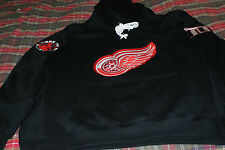 New Detroit Hockey Lace Hooded Sweatshirt with 3 logos Embroidered