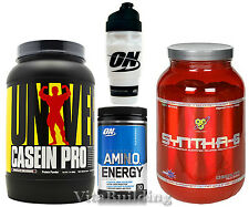 Amino Energy Casein Pro Syntha-6 ON Shaker Cup Stack Universal BSN Optimum