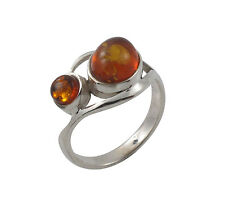 Two Oval Stone Curl Natural Amber 925 Sterling Silver Ring