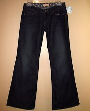 $198 Paige Bundy Wide Leg Relaxed Flare Low Rise Dark USA Jeans 24 26 27 Petite