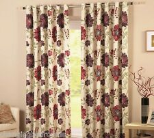 "RING TOP - RED WINE PURPLE RENZO FLOWER CURTAINS IN 46x54"" OR 90x54"" INCHES"