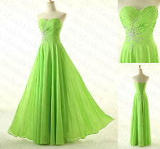 True 2015Lime Green Bridesmaid Formal Dresses Long Prom Evening Gowns size6-16