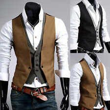 Men Stylish Business Casual Double Layered Formal Suit Tuxedo Waistcoat Vest
