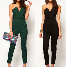 Sexy Womens Bandeau Slim Siamese pants Jumpsuit Pleated W bust origami 2 Color