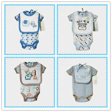 Fashion 2 PCS Romper Baby Girl Clothing Newborn Baby Boy Clothes with Baby Bibs