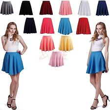 Womens Solid Stretch Waist Plain Pleated Flared Skater A-Line Mini Skirt US Size