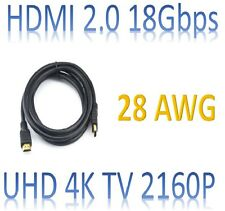 18Gbps 28 AWG HDMI 2.0 CABLE 4K TV BLURAY 3D DVD PS3 HDTV XBOX LCD HD TV 2160P