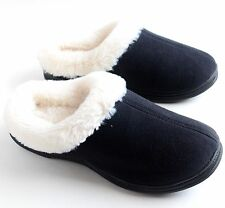 Dearfoams Women's Microsuede Faux Fur Lining Clog Slippers Black Size M L XL NEW