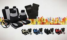 Complete Set Car Seat Covers w/ Steering Wheel Cover, Belt Pads & Floor Mats