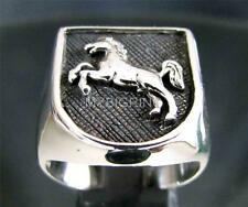 STERLING SILVER SIGNET RING STALLION HORSE COAT OF ARMS MEDIEVAL KNIGHT ANY SIZE