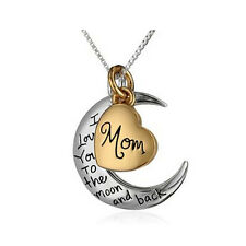 Birthday Gift For Her Him I Love You To Moon Back Toned Pendant Trendy Necklace