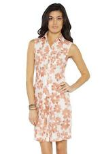 Love Moschino Floral Print Dress shirt shift crew-neck sleeveless orange NEW