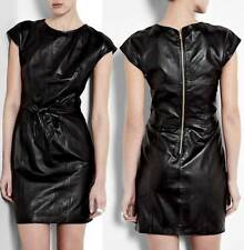 Love Moschino Cap Sleeve Leather Dress Black tie bow waist Mini Capped NEW