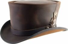 Head N' Home Brown Coachman with Feather Leather Top Hat