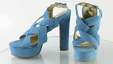 Women's Mossimo Turquise Blue Velvet Strap High Hell Shoes