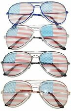 AVIATOR AMERICAN FLAG SUNGLASSES PATRIOTIC 4th JULY FUN PARTY 4 COLORS SILVER