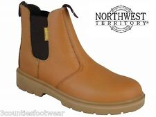 SAFETY DEALERS - STEEL TOE CAPS - TAN LEATHER WORK BOOTS - LIGHTWEIGHT